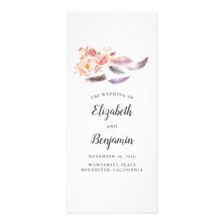 Panfleto Penas florais de Boho que Wedding programas