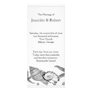 Panfleto Praia glamoroso no programa do casamento de prata