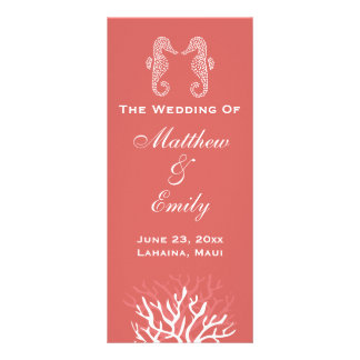 Panfleto Programa alaranjado cor-de-rosa do casamento do
