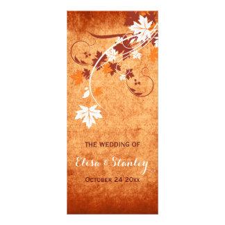 Panfleto Programa alaranjado do casamento outono das folhas