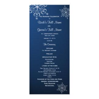 Panfleto Programa azul do casamento do floco de neve do
