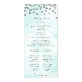 Panfleto Programa azul do casamento dos confetes da prata
