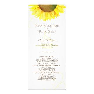 Panfleto Programa bonito do casamento do girassol da