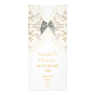 Panfleto Programa branco luxuoso do casamento da igreja do