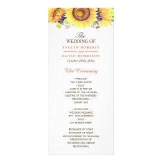 Panfleto Programa chique rústico do casamento dos girassóis
