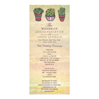 Panfleto Programa colorido do casamento do cacto