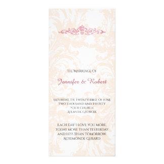 Panfleto Programa cor-de-rosa do casamento da peônia do