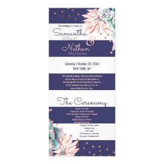 Panfleto Programa cor-de-rosa do casamento do ouro das