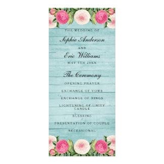 Panfleto Programa cor-de-rosa do casamento do vintage