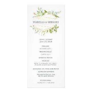 Panfleto Programa da cerimónia de casamento do Terrarium