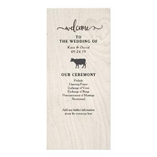 Panfleto Programa de madeira branco do casamento do chique