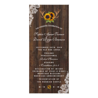 Panfleto Programa de madeira do casamento do laço dos