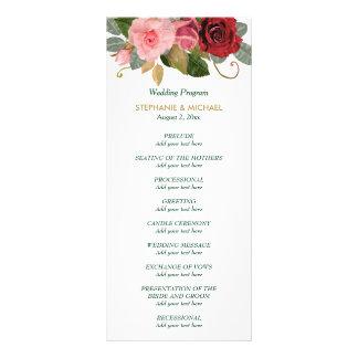 Panfleto Programa do casamento da beira do rosa do vermelho