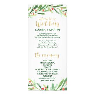 Panfleto Programa do casamento da grinalda do azevinho do