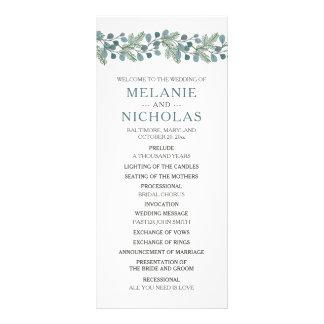 Panfleto Programa do casamento das hortaliças do pinho do