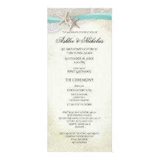 Panfleto Programa do casamento de praia do vintage da