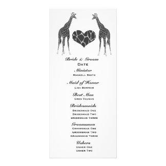 Panfleto Programa do casamento do amor do girafa