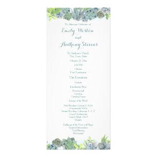 Panfleto Programa do casamento do azul de aço do jardim do