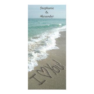 Panfleto Programa do casamento do destino, tema da praia
