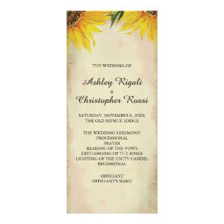 Panfleto Programa do casamento do girassol - vintage