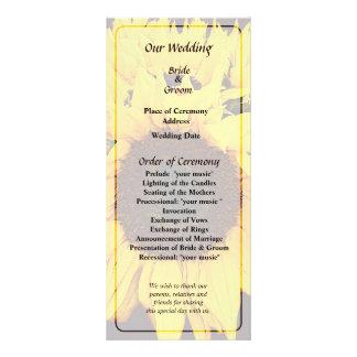 Panfleto Programa do casamento do medalhão do girassol