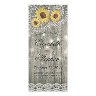 Panfleto Programa elegante do casamento do laço do girassol