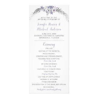 Panfleto Programa floral cinzento do casamento da lavanda