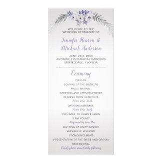 Panfleto Programa floral de prata cinzento roxo do