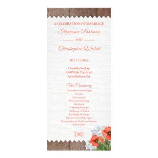 Panfleto Programa floral do casamento da papoila alaranjada