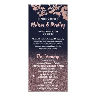 Panfleto Programa floral do casamento do brilho do ouro do