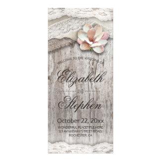 Panfleto Programa floral do casamento do laço de madeira