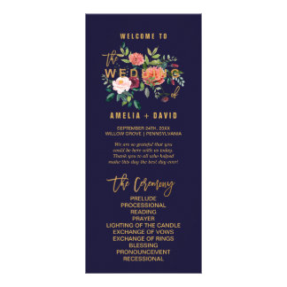 Panfleto Programa floral do casamento do outono
