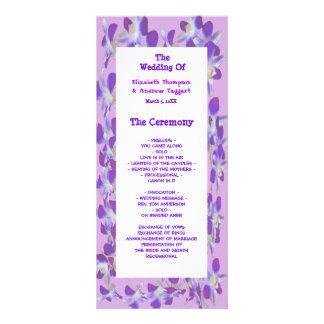 Panfleto programa floral do casamento do quadro roxo da