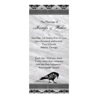 Panfleto Programa gótico do casamento do quadro do corvo
