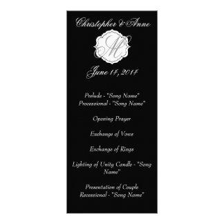 Panfleto Programa preto e branco da cerimónia de casamento