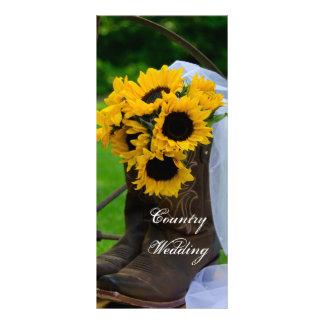 Panfleto Programa rústico do casamento do país das botas