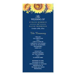 Panfleto Programa rústico do casamento dos azuis marinhos