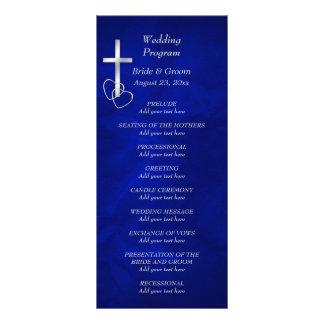Panfleto Programa transversal cristão de prata azul do