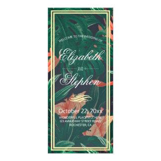 Panfleto Programa tropical do casamento do quadro floral &