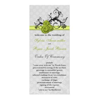 Panfleto programa verde pastel do casamento