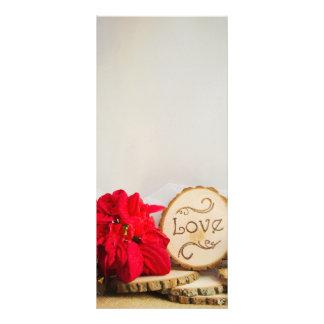 Panfleto Programa vermelho rústico do casamento no inverno
