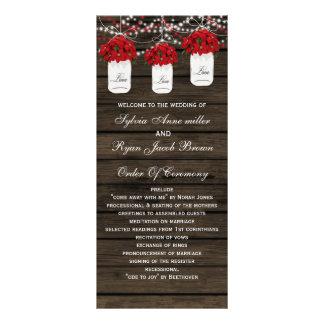Panfleto Programas de madeira do casamento do frasco de