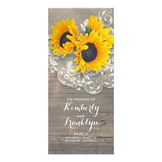 Panfleto Programas de madeira rústicos do casamento do laço