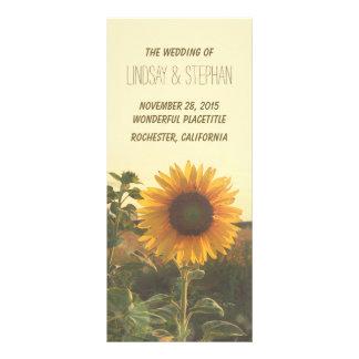 Panfleto programas do casamento do girassol