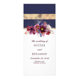 Panfleto Programas florais do casamento do marinho e do