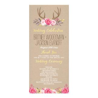Panfleto Programas florais rústicos do casamento do Antler