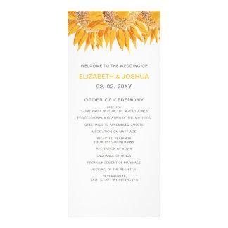 Panfleto Programas modernos do casamento do girassol
