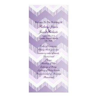 Panfleto programas roxos do casamento da viga do ombre