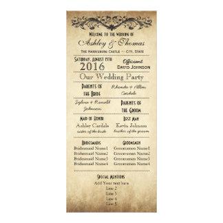 Panfleto Programas rústicos do casamento da tipografia do