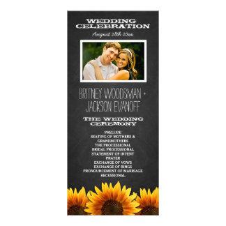 Panfleto Programas rústicos do casamento do girassol do